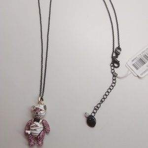 Betsey Johnson White and Pink Bear Necklace